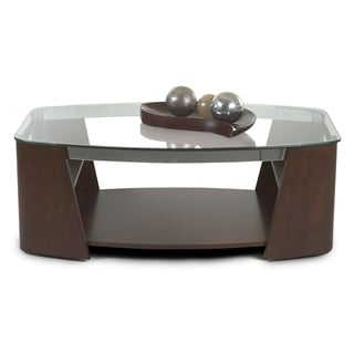 Celeste Mahogany Wood and Nickel Cocktail Table