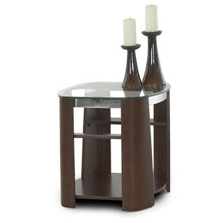 Celeste Mahogany Wood and Nickel End Table
