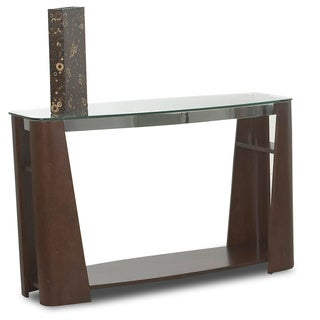 Celeste Mahogany Wood and Nickel Sofa Table
