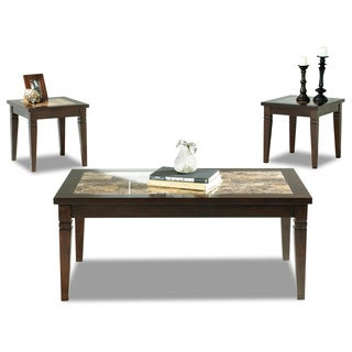 Anderson 3-piece Chocolate/ Faux Marble Accent Table Set