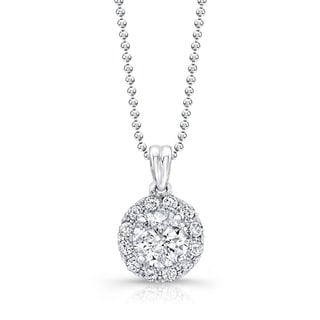 Victoria Kay 14k White Gold 1ct TDW Diamond Classic Halo Necklace (G-H)
