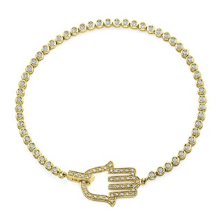 14k Yellow Gold 1-1/8ct TDW Pave Diamond Hamsa Bracelet