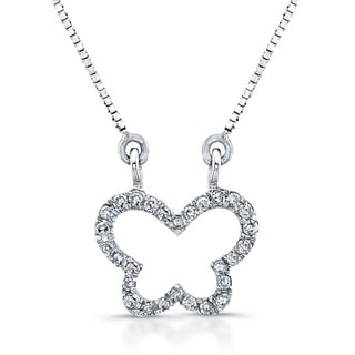 14k White Gold 1/10ct Diamond Mini Butterfly Necklace
