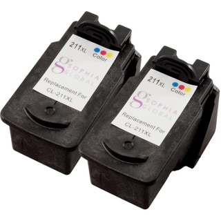 Sophia Global Remanufactured Color Ink Cartridge Replacement for Canon CL-211XL (Pack of 2)