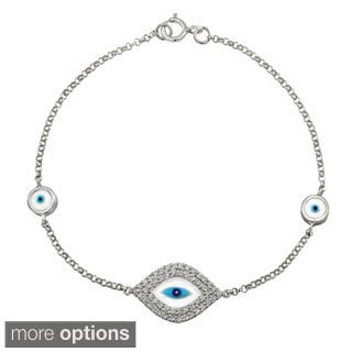 14k White Gold 1/3ct TDW Diamond Double Row Evil Eye Bracelet (I-J, I1-I2)