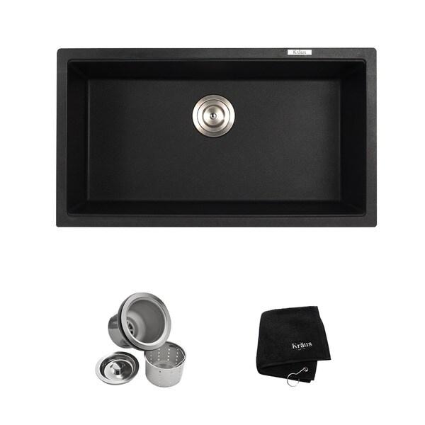 Kraus 31 inch Undermount Single Bowl Black Onyx Granite Kitchen Sink