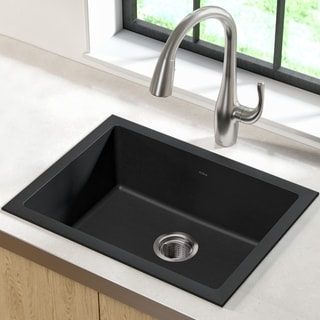Kraus 24 2/5 inch Dual Mount Single Bowl Black Onyx Granite Kitchen Sink