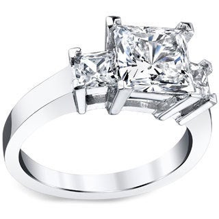 Platinum Certified 2 1/2ct TDW Princess-cut Diamond Ring (H-I, VS1-VS2)