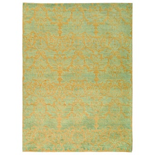Safavieh Hand-knotted Santa Fe Wicker/ Blue Wool Rug (9' x 12')