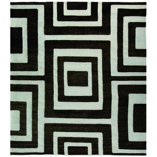 Safavieh Hand-knotted Santa Fe Modern Abstract Silver/ Black Wool Rug