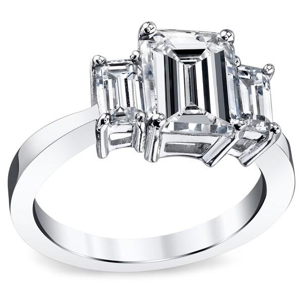 Platinum 3 1/2ct TDW Emerald Certified Diamond Engagement Ring (H, VS2)