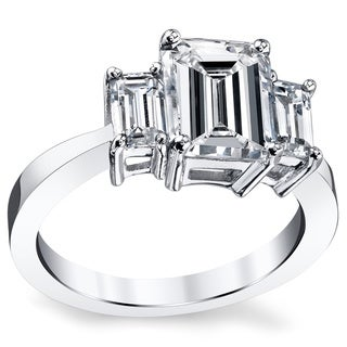 Platinum Certified 3ct TDW Emerald-cut Diamond Ring (H, VS2)
