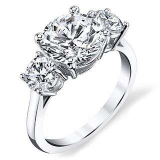 Platinum 2 3/4ct TDW Three-stone Certified Round Diamond Engagement Ring (I, SI3)
