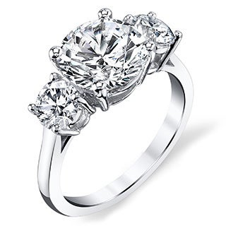 Platinum Certified 2 3/4ct TDW Three Stone Diamond Ring (I, SI3)