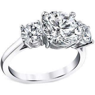 Platinum Certified 3ct TDW Round Three Stone Diamond Ring (I, SI3)