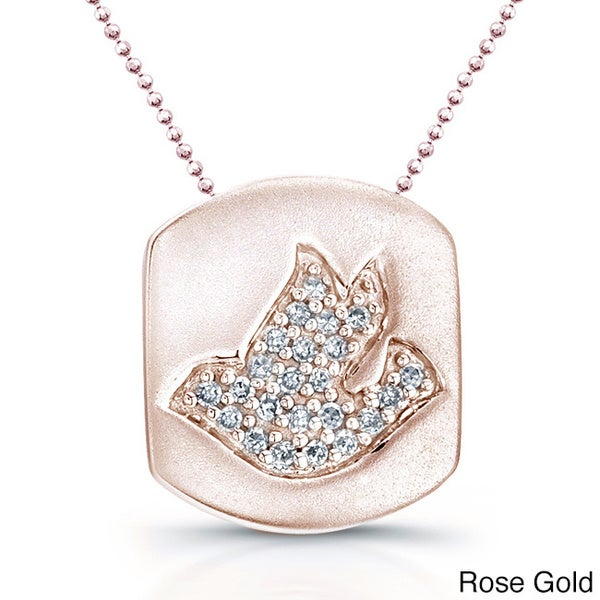 Victoria Kay 14k Gold 1/10ct TDW Diamond Pave Dove Disk Pendant with 16-inch chain (J-K, I2-I3) 12559193