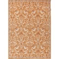 Hand-tufted Orange/ Ivory Oriental Wool Rug (5'x8') with Bonus Rug Pad
