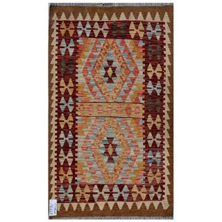 Afghan Hand-woven Kilim Burgundy/ Gold Wool Rug (2'9 x 4'7)
