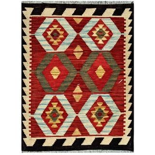 Afghan Hand-woven Kilim Red/ Black Wool Rug (2'3 x 2'11)