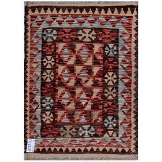 Afghan Hand-woven Kilim Red/ Brown Wool Rug (2'6 x 3'3)