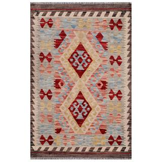 Afghan Hand-woven Kilim Grey/ Red Wool Rug (2'7 x 4')