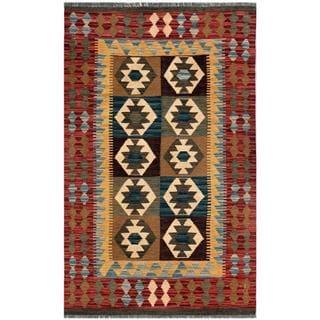 Afghan Hand-woven Kilim Red/ Brown Wool Rug (2'11 x 4'10)