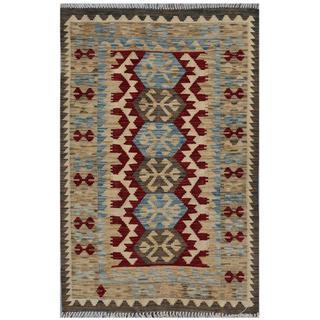 Afghan Hand-woven Kilim Red/ Beige Wool Rug (2'9 x 4'2)