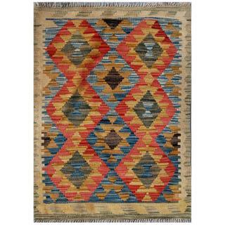 Afghan Hand-woven Kilim Blue/ Red Wool Rug (2'1 x 2'11)