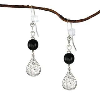 Jewelry by Dawn Sterling Silver Black Glass Filigree Teardrop Earrings