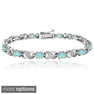 Glitzy Rocks Silver-Tone 3ct TGW Created Opal and Diamond Accent Infinity Bracelet