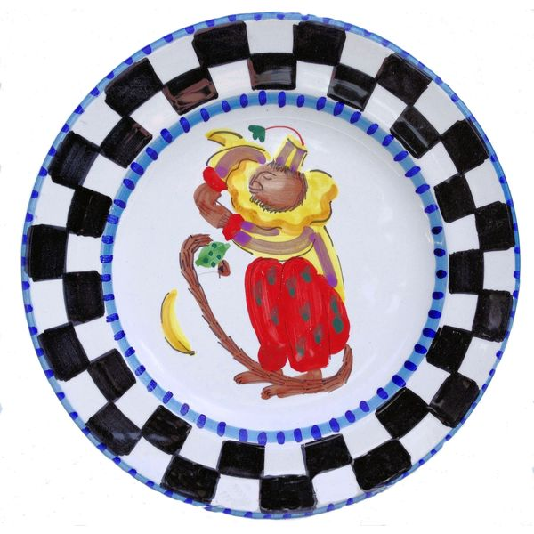 Handmade 'Monkey Business' Checked Border and Blue Rim Decorative Plate (Italy) 12562128
