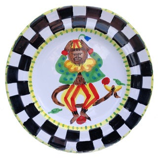 Hand-painted 'Monkey Business' Circus Monkey Decorative Dinner Plate (Italy)