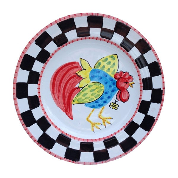 Handmade 'Proud Fools' Black/ White and Red Rooster Decorative Plate (Italy) 12562130