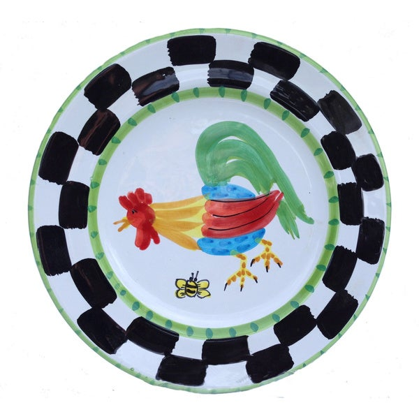 Handmade 'Proud Fools' Black/ White and Green Rooster Decorative Plate (Italy) 12562131