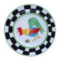 'Proud Fools' Black/ White and Green Rooster Decorative Plate (Italy)