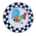 'Proud Fools' Black/ White and Blue Rooster Decorative Plate (Italy)