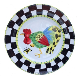 'Proud Fools' Black/ White and Yellow Rooster Decorative Plate (Italy)