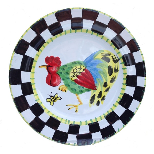 Handmade 'Proud Fools' Black/ White and Yellow Rooster Decorative Plate (Italy) 12562133