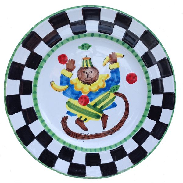 Handmade 'Monkey Business' Checked Border and Green Rim Decorative Plate (Italy) 12562136