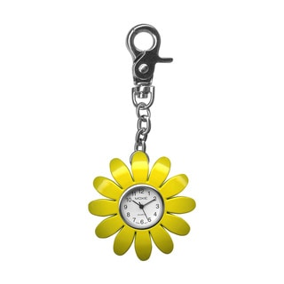 Dakota Moxie Kids Yellow Flower Charm Clock with Bonus Slap Watch
