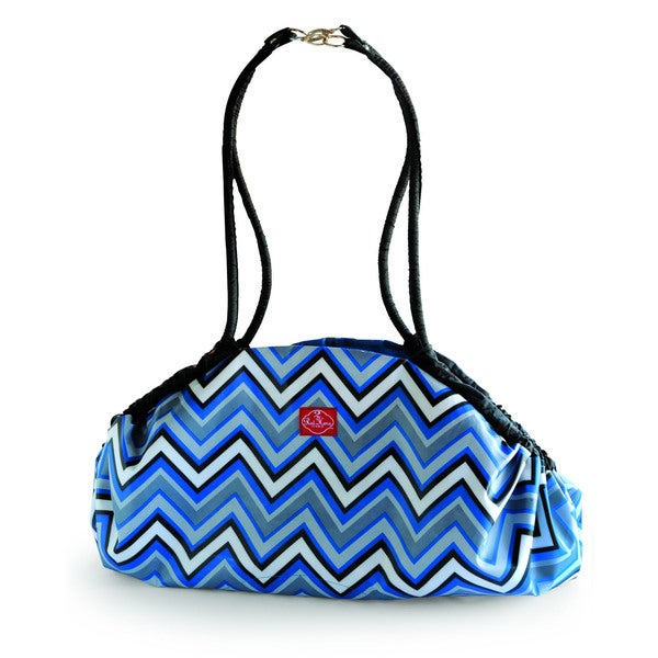 2 Red Hens Toy Nanny Play Mat and Tote in Blue Chevron