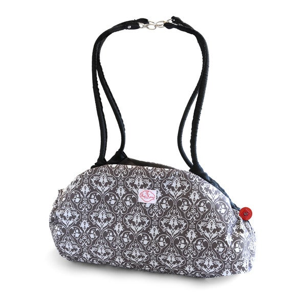 2 Red Hens Toy Nanny Play Mat and Tote in Grey Damask