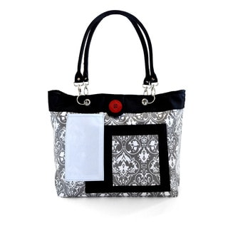 2 Red Hens Rooster Diaper Bag in Grey Damask