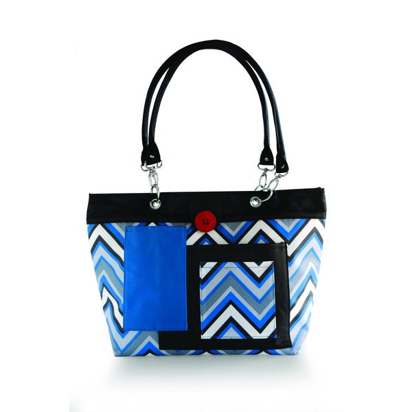 2 Red Hens Rooster Diaper Bag in Blue Chevron