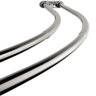 Curved Adjustable Chrome Double Shower Curtain Rod