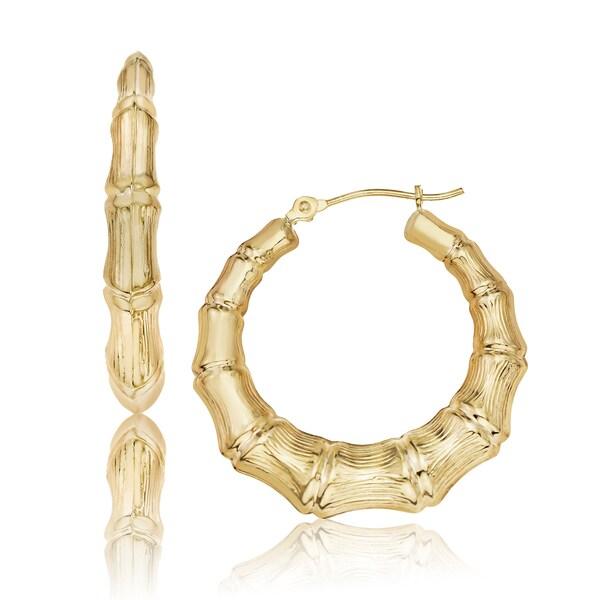 Gioelli 10k Yellow Gold Textured Hoop Earrings