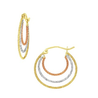 Gioelli 14k Tri-color Gold High Polish Textured Triple Hoop Earrings