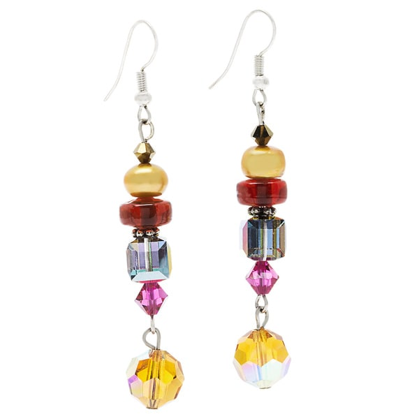 Sterling Silver 'Jewel's Eye' Multi-colored Crystal and Freshwater Pearl Dangle Earrings