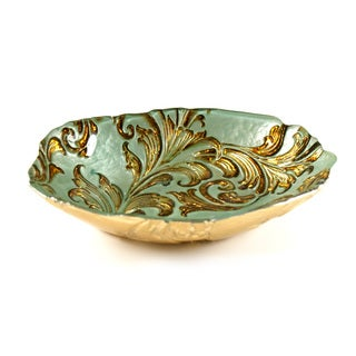 Vanessa Oval Turquoise/ Gold Glass Bowl