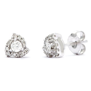 14k White Gold 1/4ct TDW Certified Diamond Earrings (H-I, I1-I2)